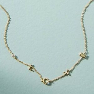 Anthropologie Love Necklace 16-18 inch Gold Tone